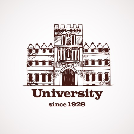 University college high school building  in brown color vector illustration Vector