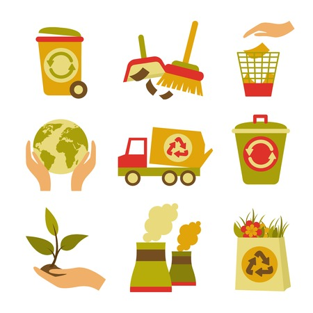 garbage disposal: Ecology and waste colored icons set of trash can globe plant isolated vector illustration Illustration
