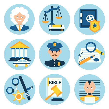 mallet: Law legal justice judge police and legislation icons set isolated vector illustration