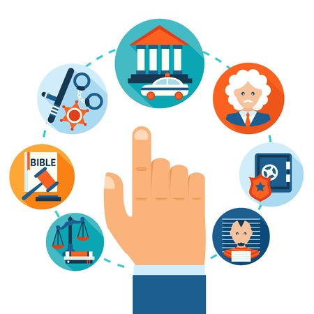 justice court: Law and justice business concept with hand selecting jail criminal courthouse certificate icons vector illustration