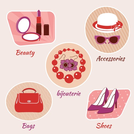 bijouterie: Woman fashion beauty emblems set of accessories bijouterie bags and shoes isolated vector illustration