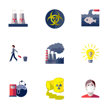 water damage: Pollution toxic environment damage and global contamination flat isolated vector illustration.