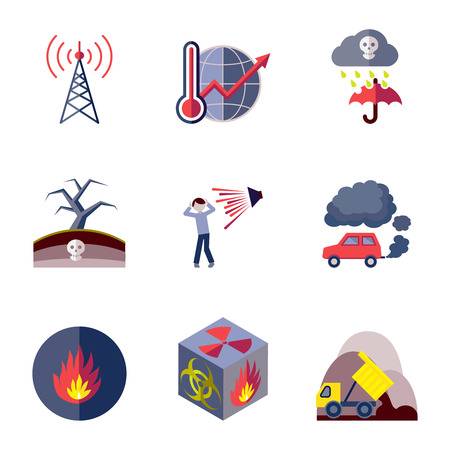 toxic cloud: Pollution toxic environment damage and contamination flat icons isolated vector illustration Illustration