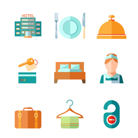 hotel icons: Set of hotel bell key bed luggage chambermaid icons in flat color style vector illustration Illustration