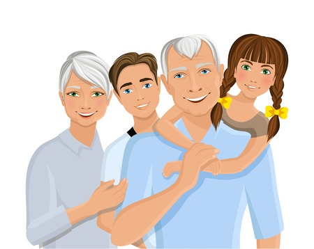 Old senior people family grandparents couple with grandchildren half-length portrait vector illustration Vector
