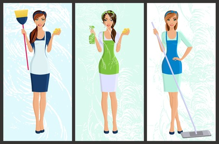 Young woman housewife set cleaning with spray and sponge full length portrait banners isolated vector illustration