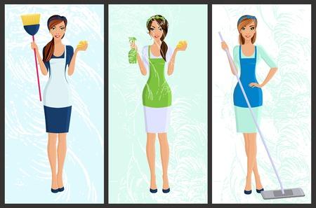 Junge Frau, Hausfrau eingestellt Reinigung mit Spray und Schwamm voller Länge Porträt isoliert Banner Vektor-Illustration