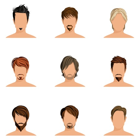 men hair style: Handsome man male head avatars set with haircut styles isolated vector illustration Illustration