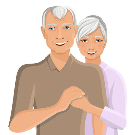happy mature couple: Old senior people family couple half-length portrait vector illustration
