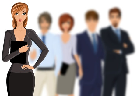 leading: Group of people busines woman with team isolated on white vector illustration