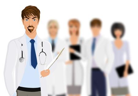 equipe medica: Grave medico di sesso maschile con la squadra di personale medico isolato su sfondo bianco illustrazione vettoriale