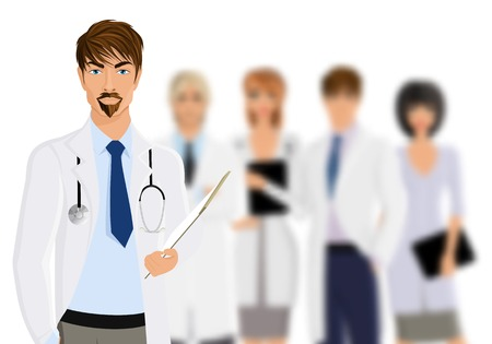 Serious male doctor with medical staff team isolated on white background vector illustration