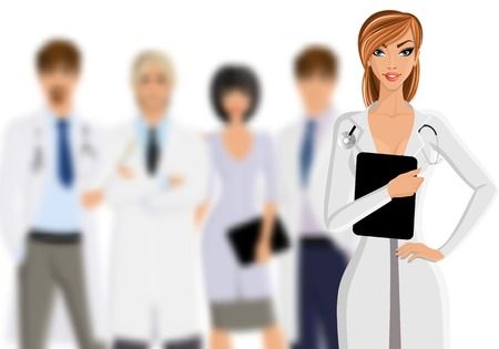 doctor tablet: Smiling female doctor with tablet pc and medical staff team isolated on white background vector illustration