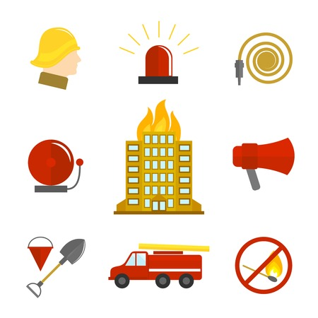 fire water: Firefighting icons flat set of burning building fire alarm water hose isolated vector illustration. Illustration