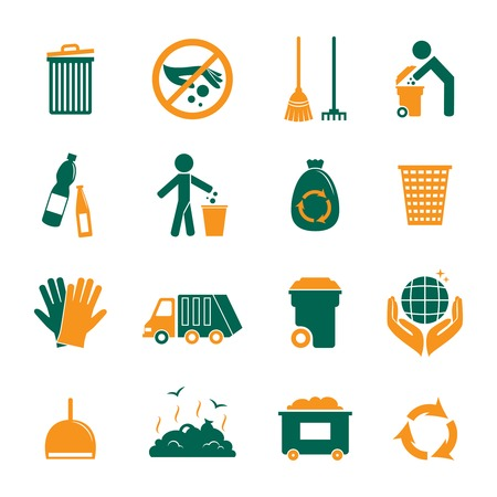 Garbage trash cleaning recycling environmental symbols icons set isolated vector illustration Vector