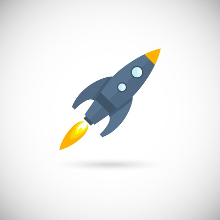 booster: Aircraft icon space rocket isolated on white background vector illustration.