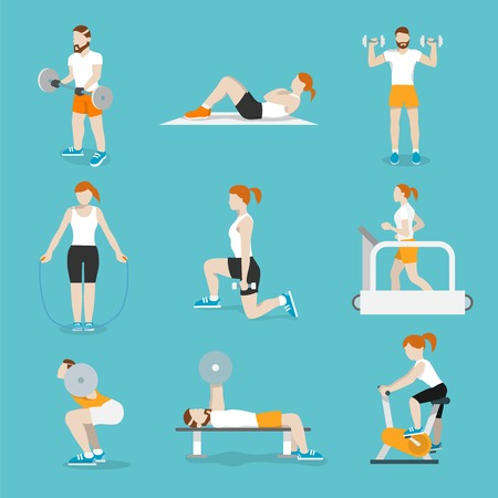 workout gym: People training exercise bikes and cardio fitness treadmills with bench press icons collection flat isolated vector illustration Illustration