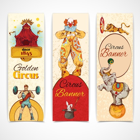 strongman: Traveling chapiteau circus advertising fantastic clown performance three vertical vintage banners set isolated doodle sketch vector illustration