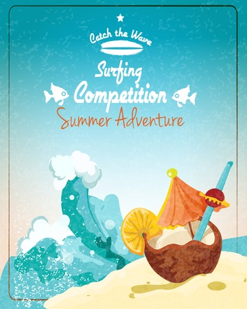 coconut water: Surfing competition promo poster with sand beach and coconut cocktail vector illustration