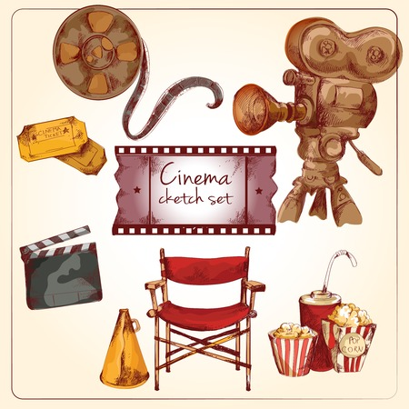 directors: Cinema entertainment media hand drawn elements of film reel director chair camera isolated vector illustration