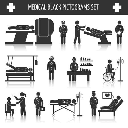 Medisch ziekenhuis ambulance nood-zorgdiensten zwarte pictogrammen set geïsoleerde vector illustratie