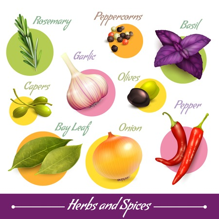 Kruiden en specerijen decoratieve elementen set van peperkorrels basilicum olijven geïsoleerd vector illustratie. Stockfoto - 29972106