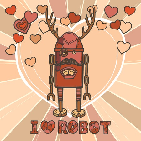 Funky robot hipster retro humanoid with mustaches and hearts on background design poster vector illustration Vector