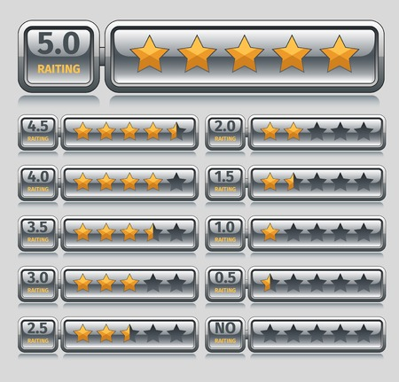 rated: Rating voting icons five stars bars set isolated vector illustration