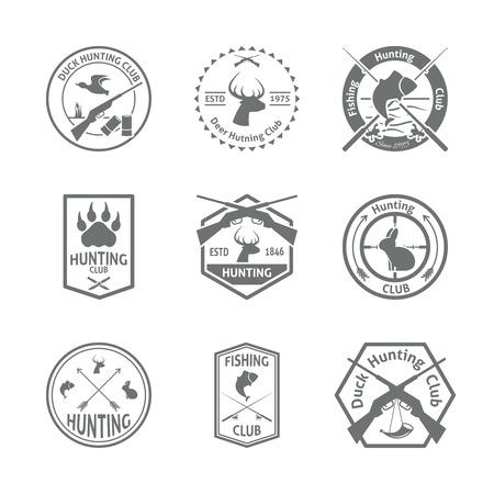 Set of hunting animal wild life leisure labels emblem with letterpress in gray color  vector illustration Illustration
