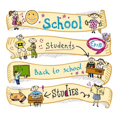 Quatre horizontaux enfants de l'école l'éducation gagner activités créatives ondes ruban bannières doodle sketch illustration vectorielle Banque d'images - 29972123