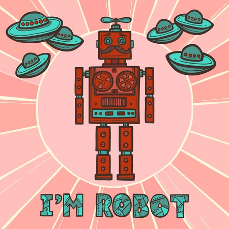 Red funky robot hipster retro fashion humanoid design with ufo poster vector illustration Vector