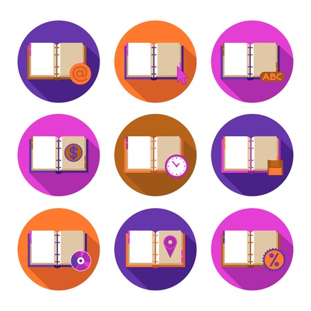 notebook cover: Book literature flat icons set with information and time symbols isolated vector illustration