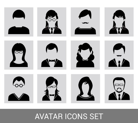 computer mascot: Social networks business private users avatar pictograms design black icons set isolated vector illustration