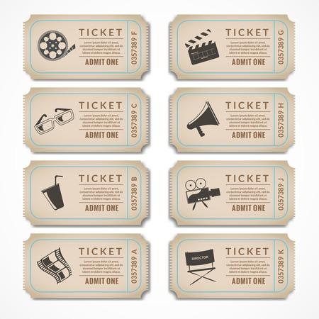 movie clapper: Retro film cinema biglietti striscioni con popcorn macchina fotografica d'epoca illustrazione vettoriale isolato. Vettoriali