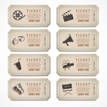 tickets: Retro movie cinema ticket banners with vintage camera popcorn isolated vector illustration. Illustration