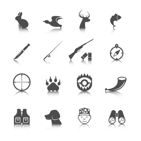 fusil de chasse: Ensemble de chasse animaux sauvages icônes vie de loisirs avec effet de réflexion illustration vectorielle