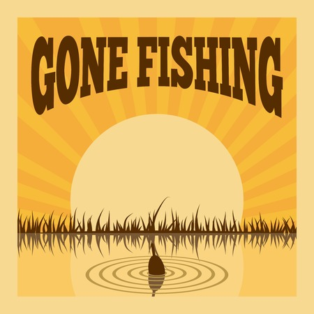 fishing lake: Fishing poster for leisure recreation hobby summer layout vector illustration