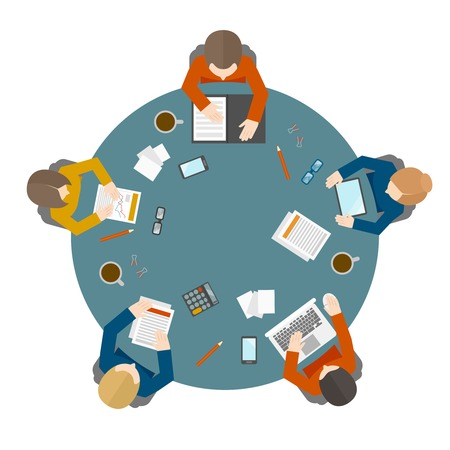 round chairs: Flat style office workers business management meeting and brainstorming on the round table in top view vector illustration