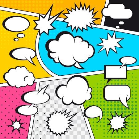 Bocadillos de cómic y la historieta en colores de fondo de medios tonos ilustración vectorial Vectores