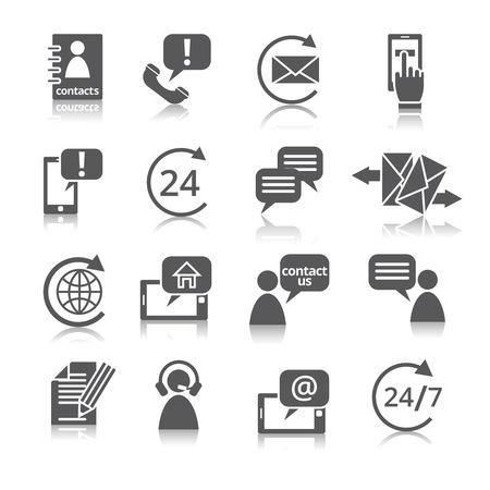 Contact us service icons set  with reflection of email phone communication and representative person isolated vector illustration Vector