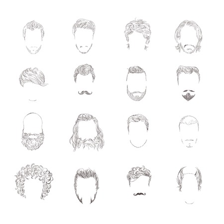 Hand drawn man male avatars set with haircut styles isolated vector illustration Vector