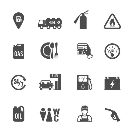 food store: Gasoline diesel fuel pump service station convenience food store and WC icons set abstract isolated vector illustration