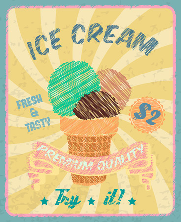 chocolate mint: Chocolate mint sweet ice-cream poster with pink tape on wafer cup vector illustration Illustration