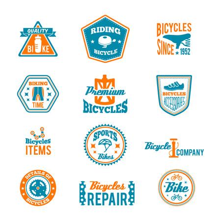 Set of bike helmet sport equipment color label isolated on white vector illustration Vector