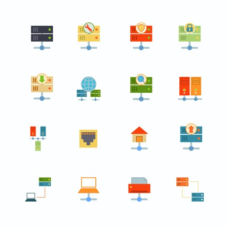 firewall icon: Hosting computer network flat icons set with file dashboard infrastructure elements isolated vector illustration