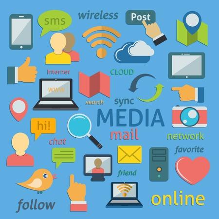 Social Media Computer Networks Symbols Pictograms Collection