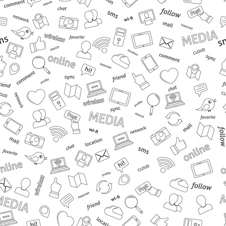 Seamless  social network media icons pattern background vector illustration Vector