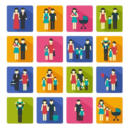 family: Family people figures website icons set of parents children married couple isolated vector illustration