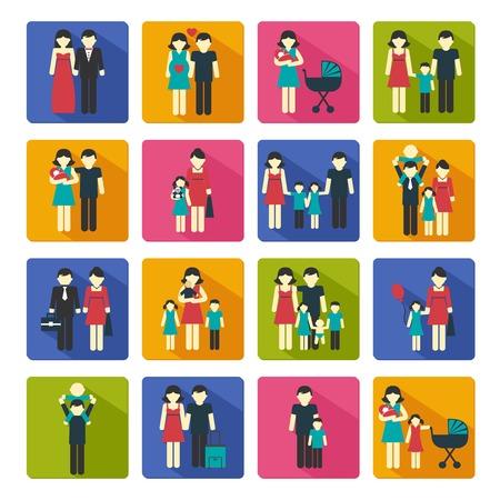 Personas familiares figuras sitio web iconos conjunto de hijos de padres casados ??aislados ilustración vectorial Foto de archivo - 30081085