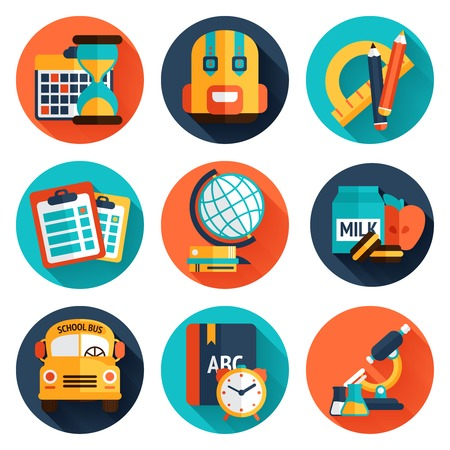 Education knowledge science college and school supplies flat icons set isolated vector illustration Vector